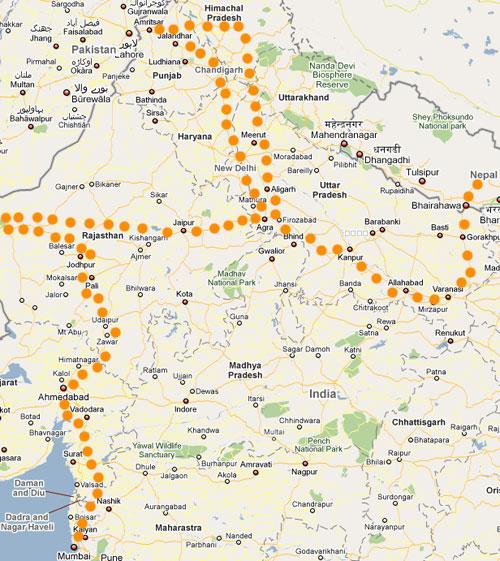Nuestra ruta en India