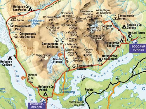 Circuito W Torres Del Paine Mapa : Acampada extrema en torres del paine